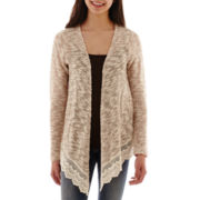 Arizona Long-Sleeve Crocheted-Hem Cardigan