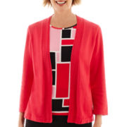 Alfred Dunner® Play On Color 3/4-Sleeve Geometric Layered Sweater - Petite
