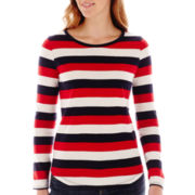 Liz Claiborne® Long-Sleeve Shirttail-Hem Tee