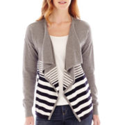 Liz Claiborne® Long-Sleeve Variegated-Striped Cardigan Sweater