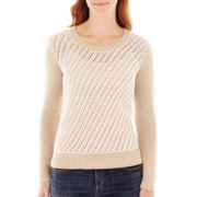 Liz Claiborne® Long-Sleeve Bicolor-Stitched Scoopneck Sweater