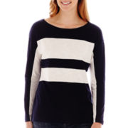 Liz Claiborne® Long-Sleeve Striped Blocked Tee