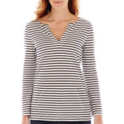 Liz Claiborne® Long-Sleeve Kangaroo Pocket Striped Tee