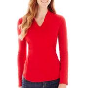 Liz Claiborne® Essential 3/4-Sleeve High-Back Low V-Neck Tee