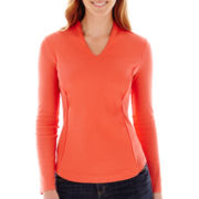Liz Claiborne® Essential 3/4-Sleeve High-Back Low V-Neck Tee
