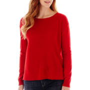 Liz Claiborne® Long-Sleeve Thermal-Front Sweater