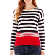 Liz Claiborne® Variegated-Striped Crewneck Sweater
