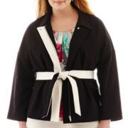 Worthington® 3/4-Sleeve Tie-Waist Jacket - Plus