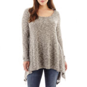 a.n.a® Long-Sleeve High-Low Flyaway Tunic - Plus