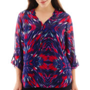 a.n.a® Long-Sleeve Mandarin Collar Chiffon Popover Top - Plus