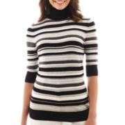 Liz Claiborne® Elbow-Sleeve Turtleneck Sweater