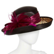 Print Band and Feather Dressy Hat