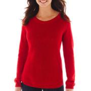 Liz Claiborne® Long-Sleeve Shaker-Stitch Sweater