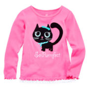 Okie Dokie® Long-Sleeve Graphic Ribbed Tee - Girls 2t-6