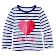 Okie Dokie® Long-Sleeve Graphic Knit Tee - Girls 2t-6