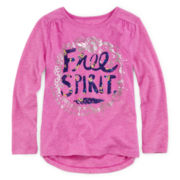 Arizona Contrast-Back Long-Sleeve Tee - Girls 4-6x
