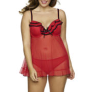Jezebel Tiffany Babydoll and Panty Set - Plus