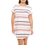 Liz Claiborne® Short-Sleeve Nightshirt - Plus