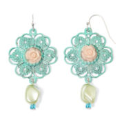 Aris by Treska Flower Bead Drop Earrings