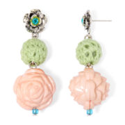 Aris by Treska Green Yarn Rose Bead Drop Earrings
