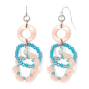 Aris by Treska Shell Bead Hoop Drop Earrings