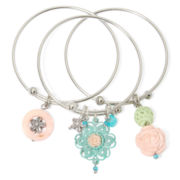 Aris by Treska Bangle with Charms 3-pc. Bracelet Set