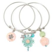 Aris by Treska Bangle with Charms 3-pc. Bracelet Set