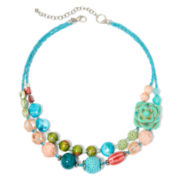 Aris by Treska Double Row Flower Statement Necklace