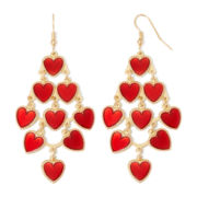 Gold-Tone Red Heart Chandelier Earrings
