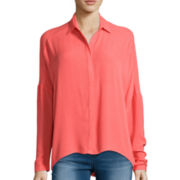 Decree® Long-Sleeve Button-Front Blouse