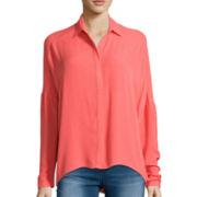 Decree® Long-Sleeve Button-Front Blouse