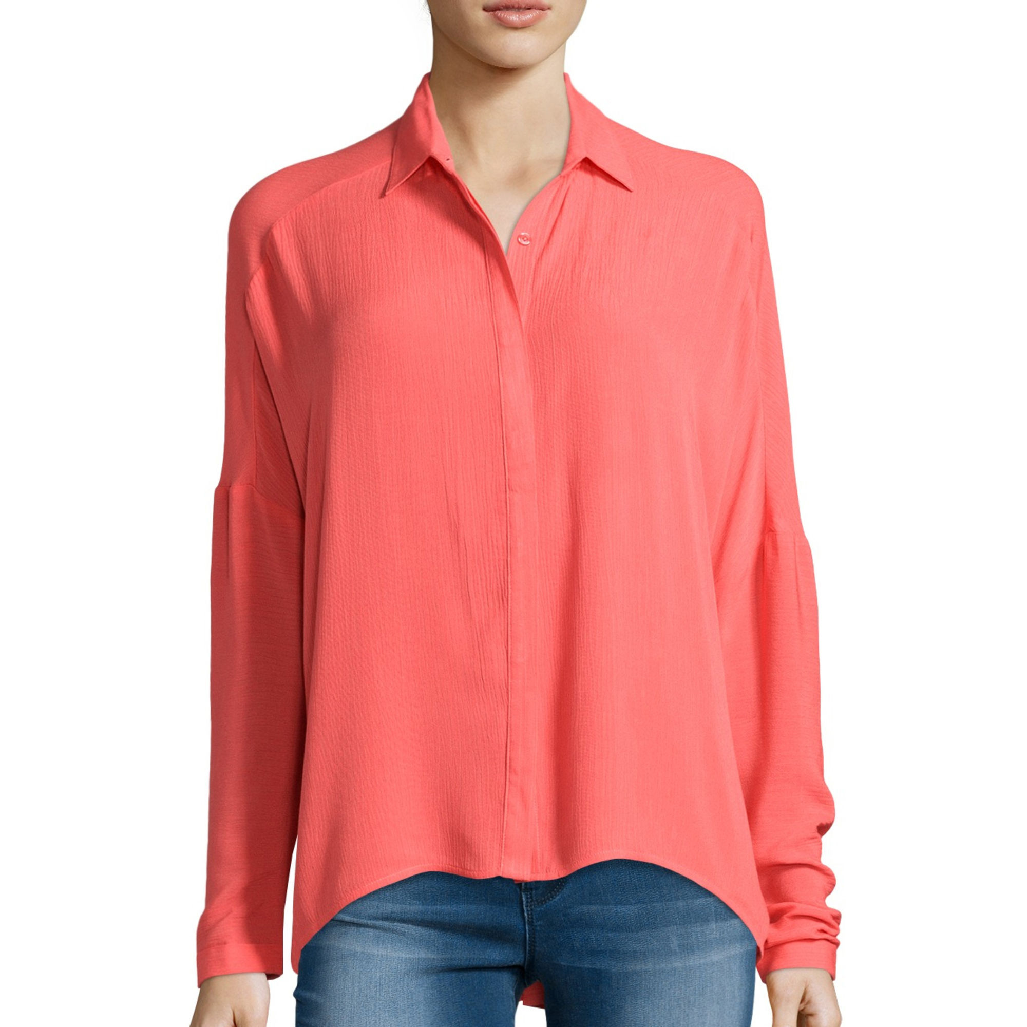 Decree Long-Sleeve Button-Front Blouse