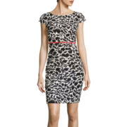 Alyx® Cap-Sleeve Print Sheath Dress