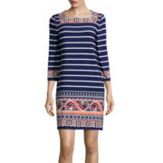 Tiana B. ¾-Sleeve Stripe Border Print Sheath Dress