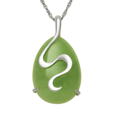 jcpenney.com | Sterling Silver Swirl Dyed Drop Jade Pendant Necklace