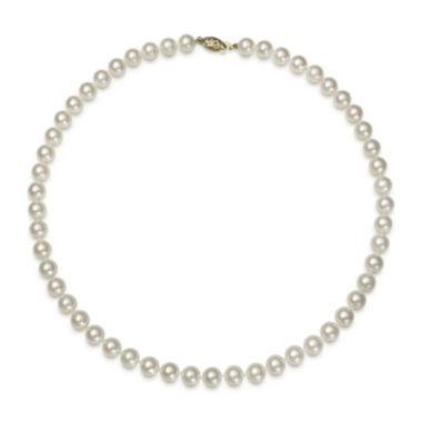 jcpenney.com | 14K Yellow Gold Akoya Pearl Necklace 16""