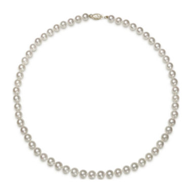 "jcpenney.com | Genuine Akoya Pearl 14K Yellow Gold 18"" Necklace"