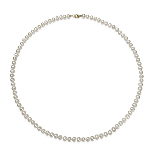"""14K Yellow Gold Akoya Pearl Necklace 24"""""""