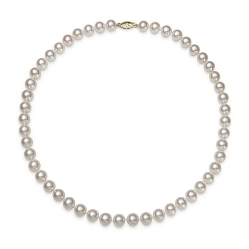 """Genuine Akoya Pearl 14K Yellow Gold 18"""" Necklace"""