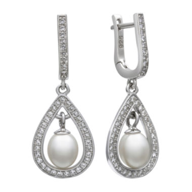 jcpenney.com | Sterling Silver Cultured Freshwater Pearl & Lab-Created White Sapphire Earrings