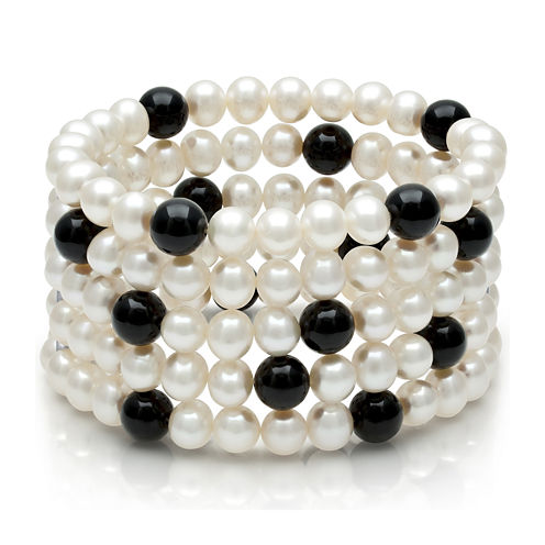 Cultured Freshwater Pearl and Onyx Sterling Silver Bracelet