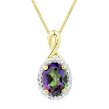 jcpenney.com | Genuine Mystic Topaz and Lab-Created White Sapphire Pendant Necklace
