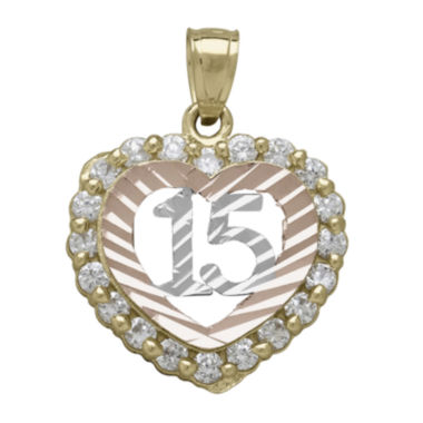 jcpenney.com | Tesoro™ Cubic Zirconia 14K Tri-Color Gold Quinceanera Heart Pendant