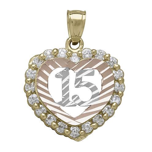 Tesoro™ Cubic Zirconia 14K Tri-Color Gold Quinceanera Heart Pendant