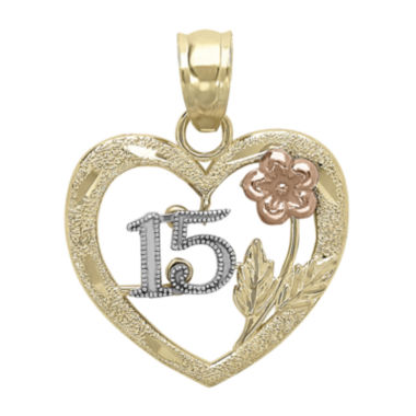 "jcpenney.com | Tesoro™ 14K Tri-Color Diamond-Cut ""15"" Quinceanera Flower Heart Pendant"