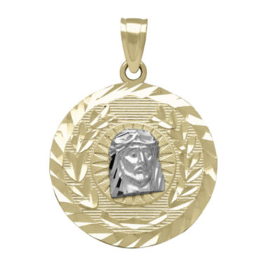 jcpenney.com | Tesoro™ 14K Two-Tone Gold Diamond-Cut Christ Head Medallion Pendant
