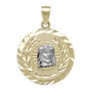 Tesoro™ 14K Two-Tone Gold Diamond-Cut Christ Head Medallion Pendant