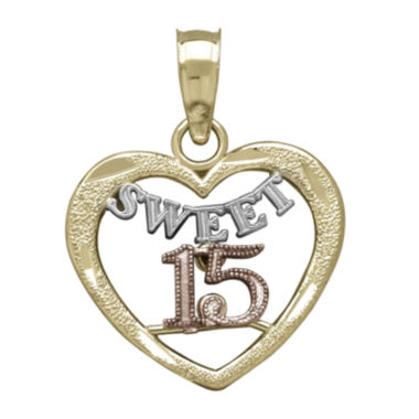 jcpenney.com | Tesoro™ 14K Tri-Color Gold Sweet 15 Quinceanera Heart Pendant
