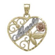 Tesoro™ 14K Tri-Color Gold Abuela Heart and Rose Pendant