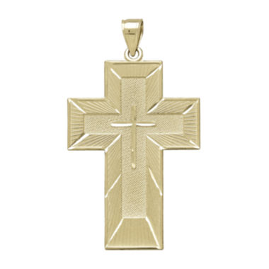 jcpenney.com | Tesoro™ Mens 14K Yellow Gold The Lord's Prayer Cross Pendant